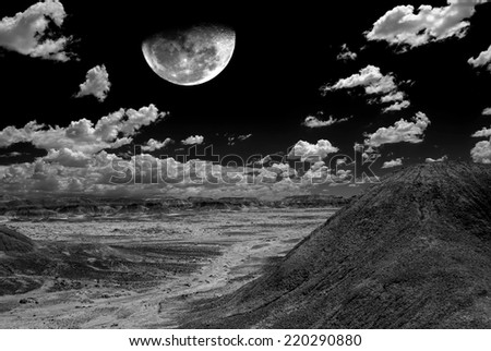 Moon and Spring landscape in the Arizona desert USA - stock photo