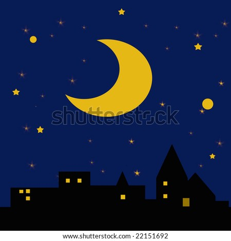 moon and stars in dark night sky over city illustration