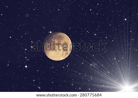 Moon and stars on a black background. Mosaic taken through my telescope. Not an illustration. - stock photo