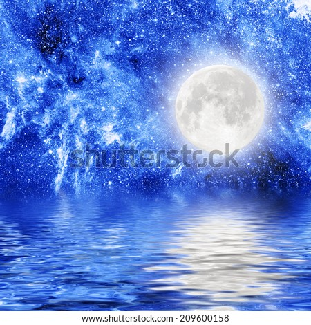 moon and stars reflects into water. Elements of this image furnished by NASA  - stock photo