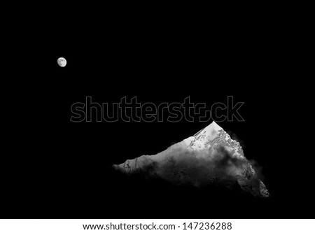 Moon and top of the Nuptse (7864 m) at sunset (view from Kala Patthar) - Everest region, Nepal (black and white) - stock photo