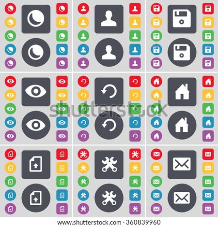 Moon, Avatar, Floppy, Vision, Reload, House, Upload file, Wrenches, Message icon symbol. A large set of flat, colored buttons for your design. illustration - stock photo