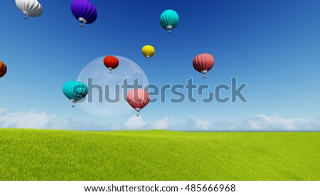 Moon balloons and spring green meadow. Nature composition. 3D rendering. This image elements furnished by NASA