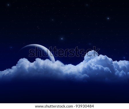 moon behind clouds in dark starry sky - stock photo