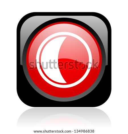 moon black and red square web glossy icon