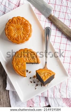 Moon cake,Chinese mid autumn festival dessert. - stock photo