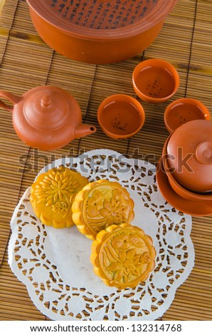 moon cake, food for Chinese mid-autumn festival - stock photo