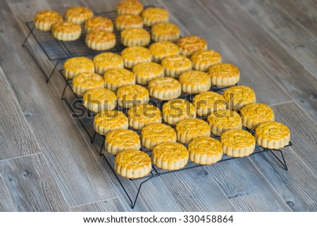 Moon-cake for Chinese and Vietnamese traditional mid-autumn festival in every full moon lunar August. Placed on tray against wooden background