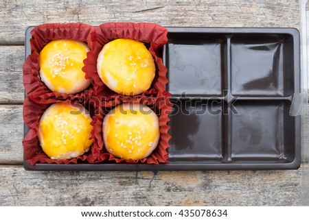 moon cake in box, Traditional delicious cake in asia. - stock photo