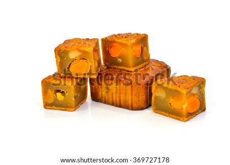 Moon cakes for the Chinese Mid-autumn festival, chinese words on the mooncake is not a logo or trademark. Chinese words translation: Double Egg Yolks. - stock photo