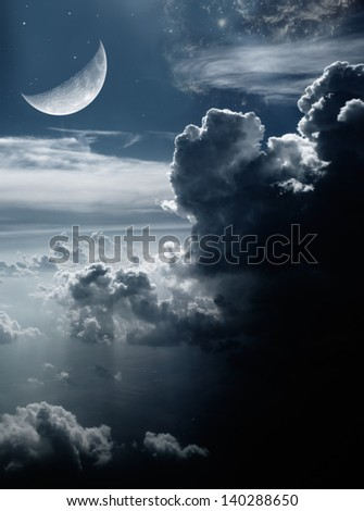 Moon,clouds,space,fantasy picture - stock photo