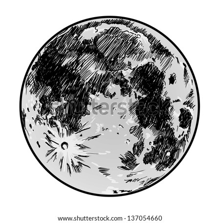 moon drawing on white background - stock photo