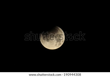 Moon Eclipse Closeup Showing the Details of Lunar Surface. - stock photo