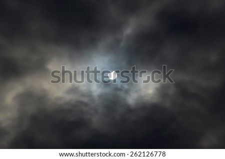 Moon eclipse of the sun. March 20, 2015. Ukraina geographical coordinates of shooting 49, 34, 0, N  25, 36, 0, E  - stock photo