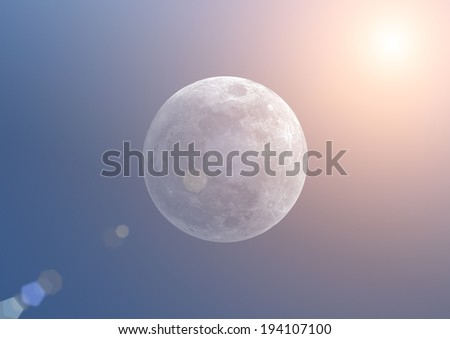 Moon eclipse on a blue gradient background. - stock photo