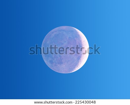 Moon eclipse on a gradient background. - stock photo