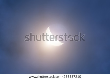 Moon eclipse on a starless sky. - stock photo