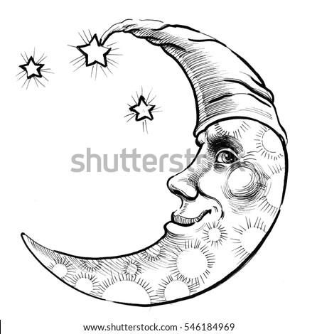 Moon Face Stock Illustration 546184969