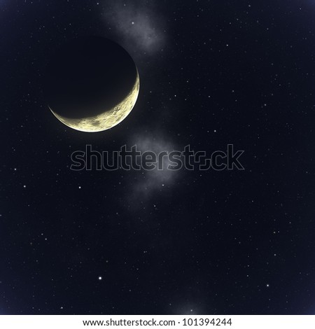 moon in space background - stock photo