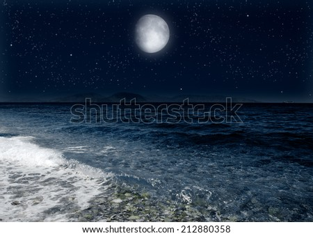 "moon in the  night sky  ""Elements of this image furnished by NASA"""