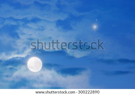Moon, Jupiter and Venus conjunction.. My astronomy work. No elements of NASA or other third party. - stock photo