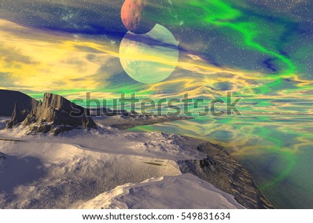 Moon. Landscape of stranger planet. 3D illustration