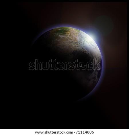 Moon light behind the earth. Data source: NASA - stock photo