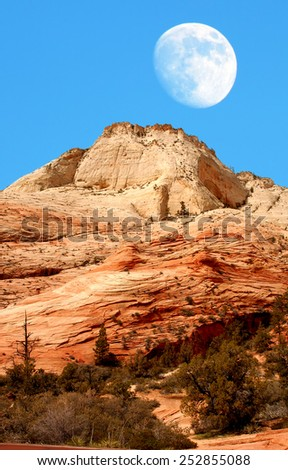 Moon, National Park, Zion, Southern Utah state USA - stock photo