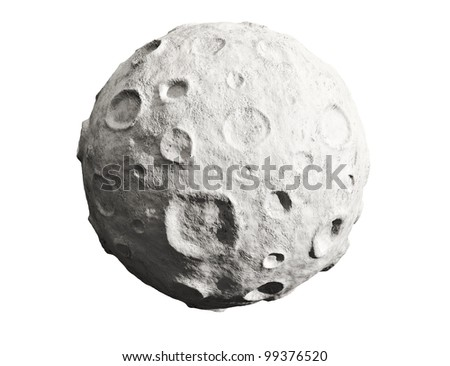 Moon on a white background. Lunar craters and bumps. 3D image of the full moon. Isolated. - stock photo