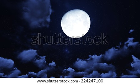 Moon on Cloudy day. 3d render - stock photo