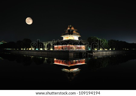 Moon on Forbidden City Turret in Beijing China
