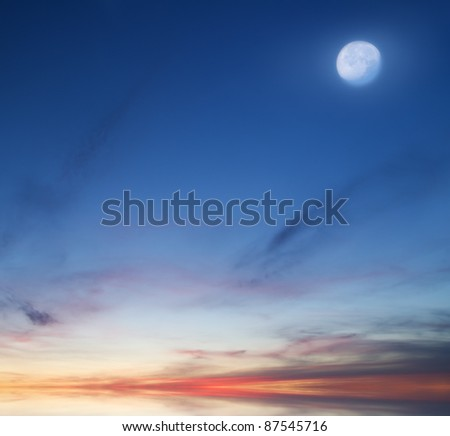 Moon on the evening sky. Nature composition.