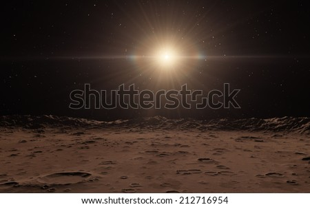 Moon or mercury surface - stock photo