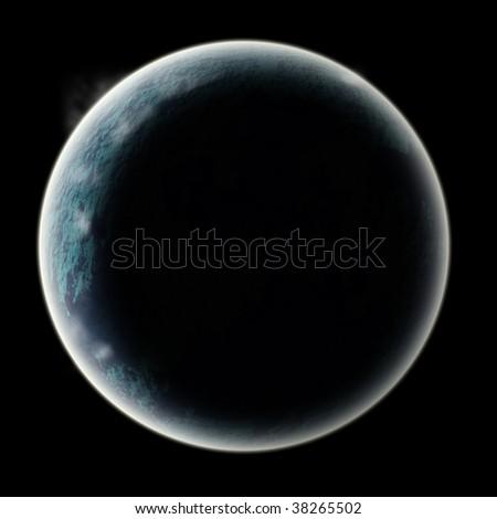 moon or planet in space. globe radiating glow in dark sky - stock photo