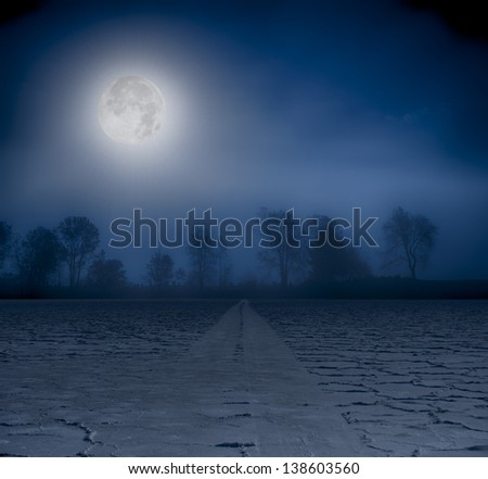 Moon over a foggy treeline and a cracked earth road. - stock photo