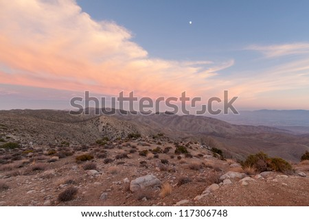 Moon over Keys View - Joshua Tree National Park. This image was taken at Keys View in Joshua Tree National Park in Southern California after sunset. - stock photo