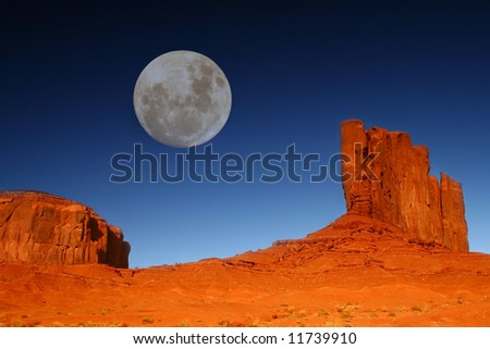 Moon Over Monument Valley, Navajo Nation, Arizona USA - stock photo