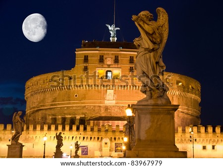 Moon over st Angelo fortress in Rome
