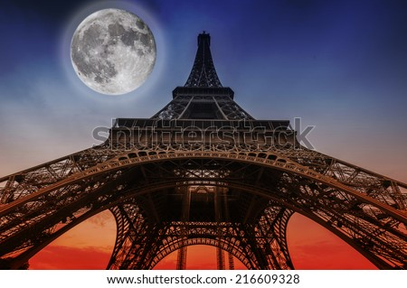 Moon over the Eiffel Tower, Paris, France - stock photo