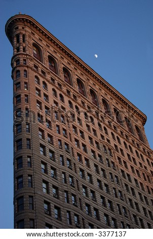 Moon over the flatiron building in New York City