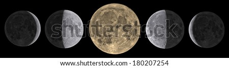 Moon phases on a black 0 0 0 background. Sharp details on the surface.  - stock photo