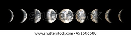 Moon phases. Watercolor illustration isolated on black background - stock photo