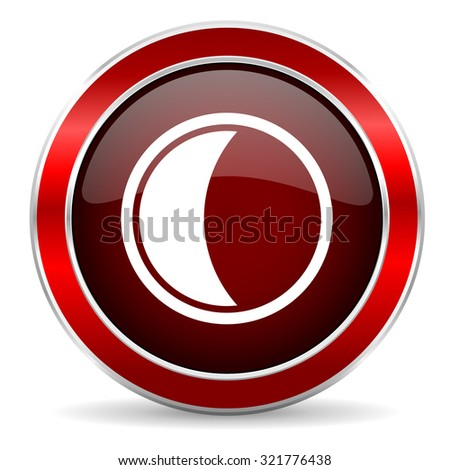 moon red circle glossy web icon, round button with metallic border