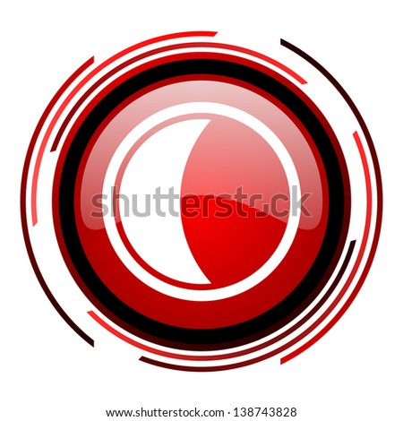 moon red circle web glossy icon on white background