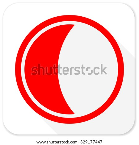 moon red flat icon with long shadow on white background