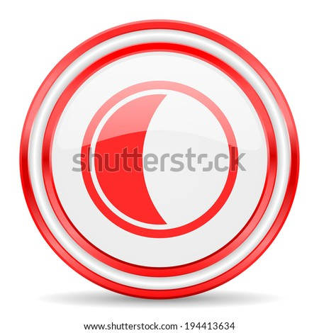 moon red white glossy web icon