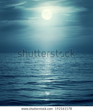 moon reflecting in a sea. Retro style. - stock photo