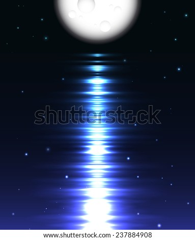 Moon reflection over water. Abstract background - stock photo