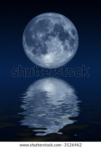 Moon reflections - stock photo