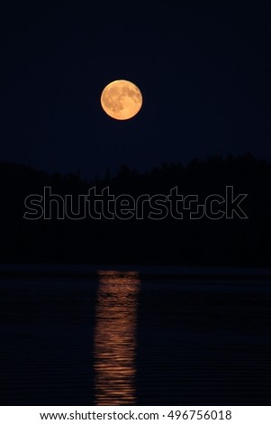 Moon Rise over Northern Ontario Lake August 2016